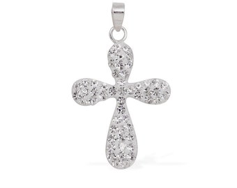 White Austrian Crystal Cross Pendant Without Chain in Sterling Silver Nickel Free