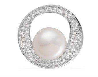 Freshwater White Pearl, Simulated White Diamond Circle Pendant in Silver-tone Without Chain