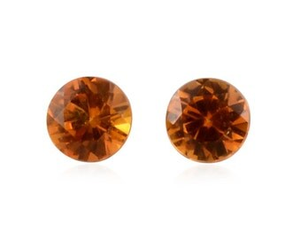 Yellow Sapphire Synthetic Lab Created Loose Gemstones Set of 2 Round Cut 1A Quality 4mm TGW 0.55 cts.