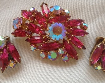 Vintage Hot Pink and Aurora Borealis Rhinestone Brooch and Earrings Set