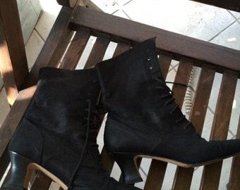 Via Spiga black twill lace up booties