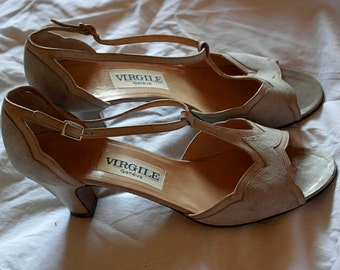Leather and suede beige heeled sandals size 37 1/2