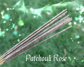 Patchouli Rose Incense, Pack of 12 Sticks, Hand Dipped, Zen, Meditation