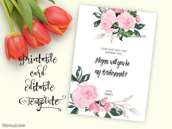 Printable template will you be my bridesmaid card will you printable template will you be my bridesmaid card will you be my maid of honor card editable with your own wording and names bri010 pronofoot35fo Image collections