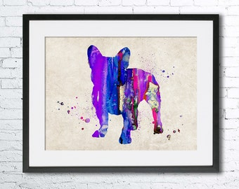French Bulldog, Watercolor print. Old paper print. Wall art, Vintage paper poster, French bulldog art. watercolor animal, French Bulldog