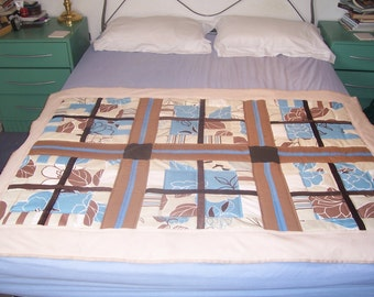Patchwork quilt, double bed runner/single bed cover,or large lap quilt. geometrical patchwork design,brown and blue. Ready to ship, free P&P