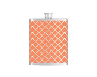Moroccan Pattern Wallpaper Bridesmaid Gift - Stainless Steel 8 oz Liquor Hip Flask - Flask#35