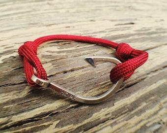 Red Fish Hook Bracelet