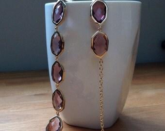 Dark purple and gold framed crystal bracelet