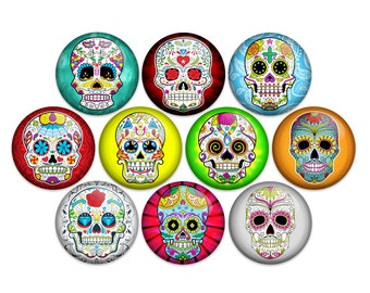 "Sugar Skull Day Of The Dead Pin Back Button Badge or Magnet (1"" or 1.25"" Pack of 10)"