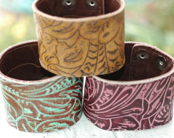 Hidden Money Pocket- Wide Copper and Leather Cuff- Genuine Leather
