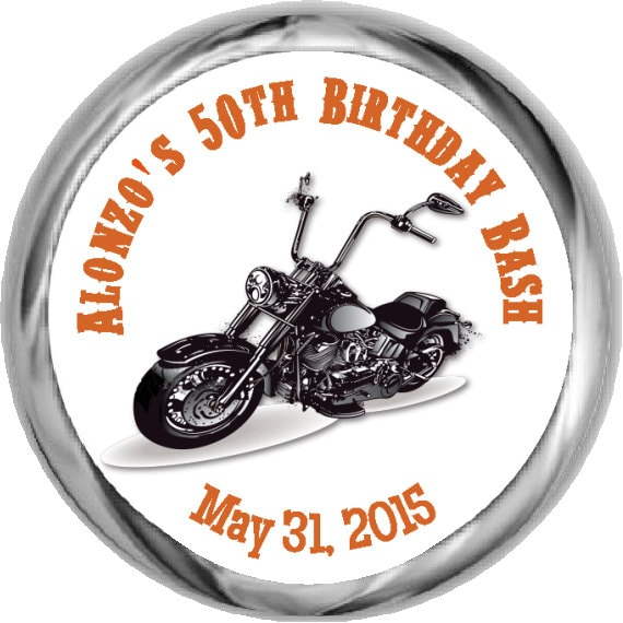 Motorcycle 50th Birthday Stickers Birthday Party Stickers