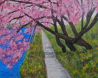 Cherry Tree, Original Painting, Cherry Blossoms, Tree Art, Impressionism art, Landscape Painting, Washington Cherry Trees, For the Home