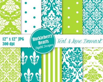 80% OFF SALE Teal and Lime Damask, Wedding Damask, Classic Damask, Digital Damask, Damask Paper
