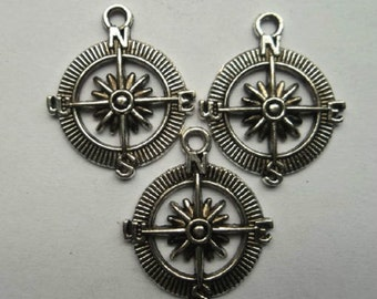 "30 Pcs tibetan Silver NSEW compass North South East West charm1 "" approx. U.S.Seller Quick"