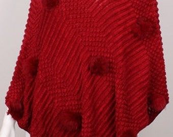 Puff Accented Knit Poncho