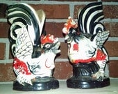 Vintage ceramic red, black and white ceramic roosters