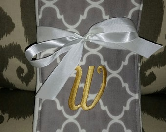 Monogrammed Burp Cloth, perfect for a new baby. Custom made for boy of girl.