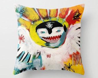 Dancing Shaman, Throw Pillow, Alaska Mask Pillow, Unique Home Decor, Urban Style, Eclectic Design, Shaman Mask, Shaman Art, Fine Art Decor