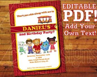"Printable Daniel Tiger Invitation for Daniel Tiger Birthday / Daniel Tiger Party (5"" x 7"") Editable PDF Instant Digital Download"