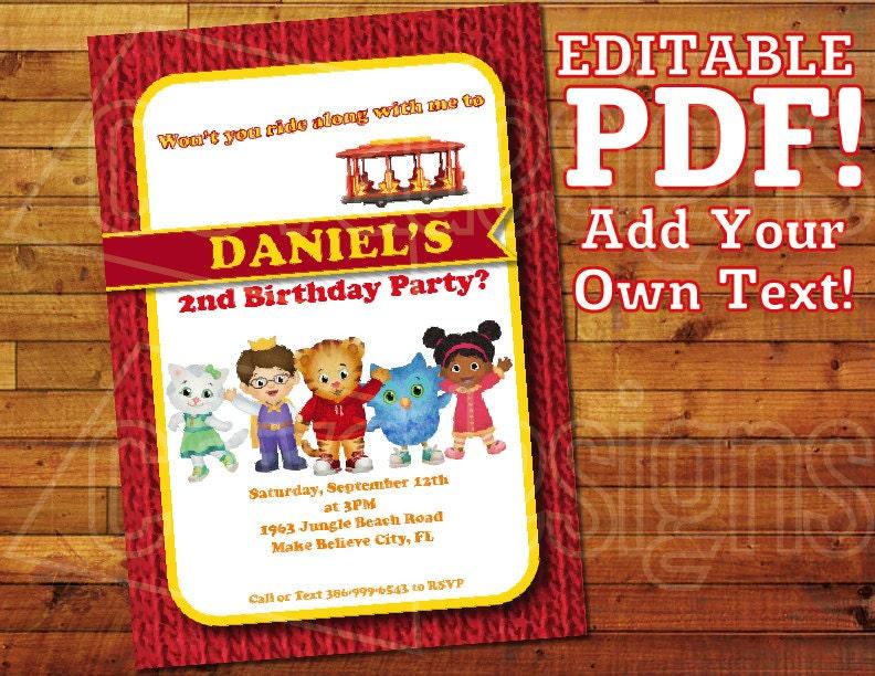 Printable Daniel Tiger Invitation For Daniel Tiger Birthday