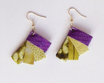 Paper earrings, green and violet