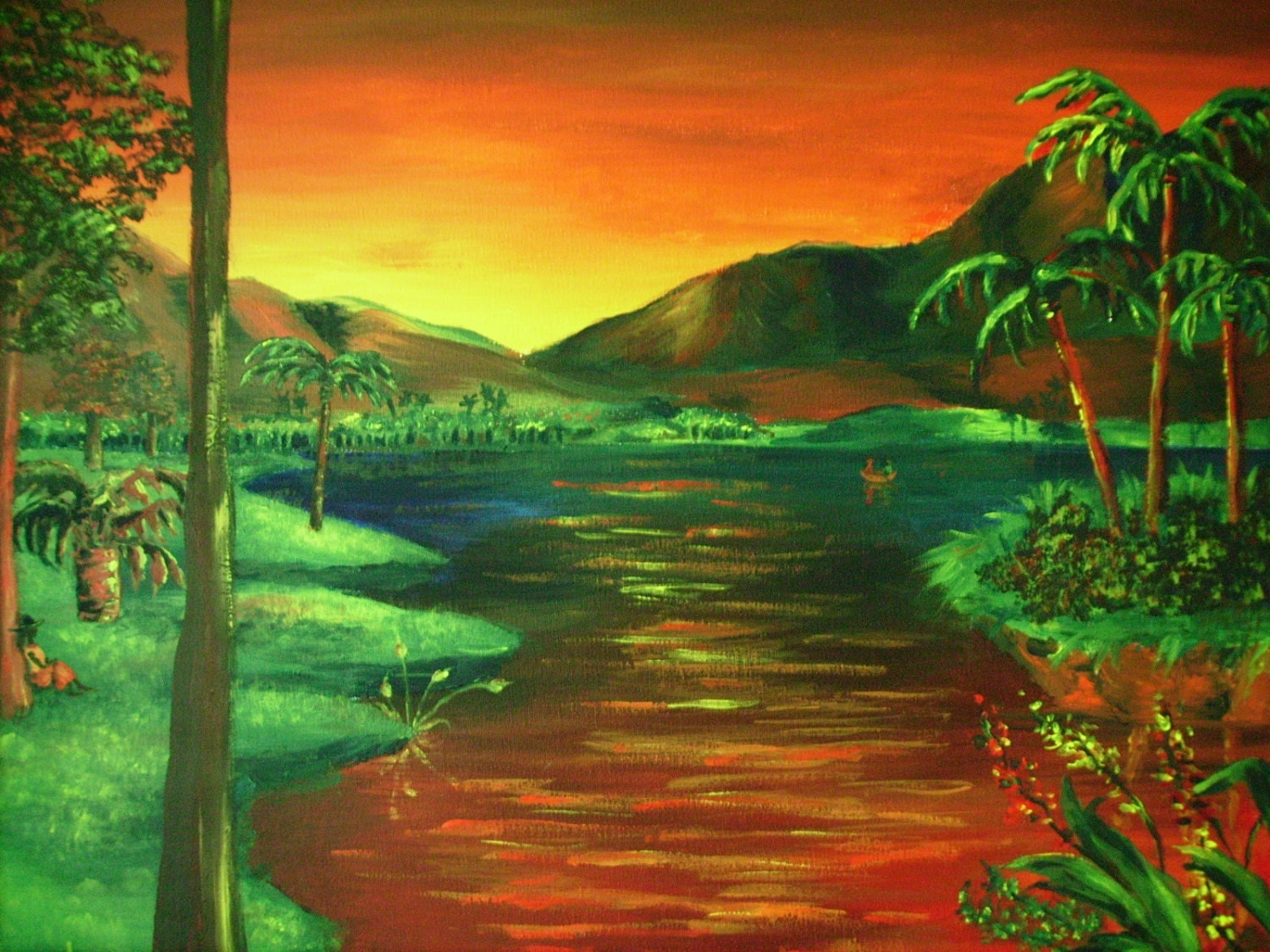 Acrylic Landscape Painting Mountains and Palm Trees Original