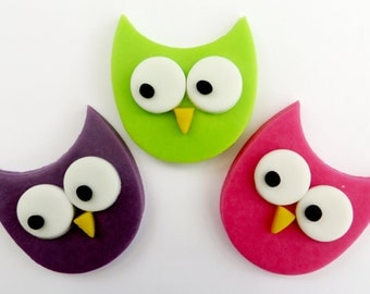6 cute Owls cupcake plaque toppers edible sugar fondant cake decorations