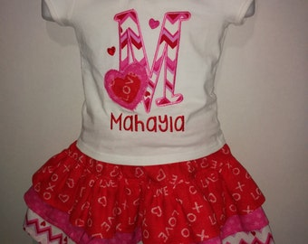 Heart and Chevron Valentine's Day Personalized Boutique Birthday Party Twirl Twirly Skirt Set Girl Outfit! Valentine Valentines