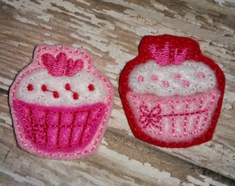 Set of 4 Heart Cupcake Valentines Valentine Day Feltie Felt Embellishment Bow! Birthday Party