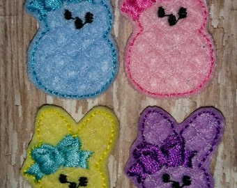 Set of 4 Girly Quatrefoil Quilted Bunny Rabbit Easter Feltie Felt Embellishment Bow! Birthday Party Pink Yellow Blue Lavender Purple