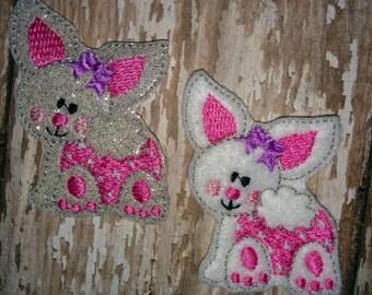 Set of 4 Crawling Baby Bunny Heads Faces Rabbit Easter Feltie Felt Embellishment Bow! Birthday Party First Birthday Felties Planner Clip