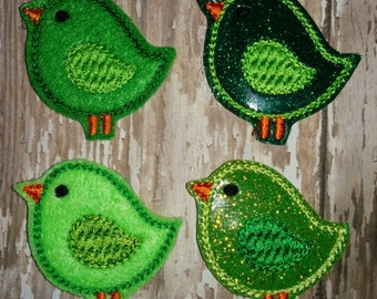 Set of 4 Green Birds Felties Birdy Glitter St Paddy Patricks Patrick Patrick's Day Feltie Bird Embellishment Bow Birthday Party Planner Clip