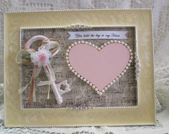"Framed ""You Hold the Key to my Heart"", Valentines/Mother's Day, engagement, wedding, love symbol"
