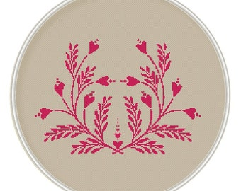 Ornament cross stitch pattern, Flower heart Сross stitch pattern,  PDF, Instant Download, Valentine's day, Design, MCS091