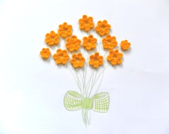 Yarn flowers, Crochet flowers, Flower applique, Gift embellishments, set of 5, yellow flowers
