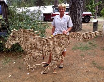 Wine cork sculpture, wine cork project, outdoor sculpture, horse statue, outdoor horse sculpture, outdoor horse statues, outdoor sculptures