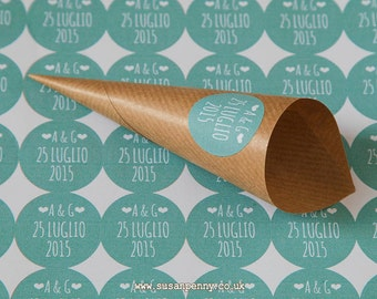 48 Personalised Kraft Cones, Confetti Cones, Rustic Wedding, Confetti Holders, Wedding Petal Cones -  WED012