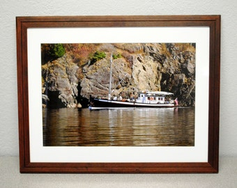 Three Cylinders at Lummi Island Granite - Teak Framed Photograph