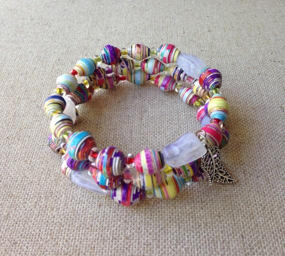 Handmade paper bead bracelet Memory wire bracelet Wire