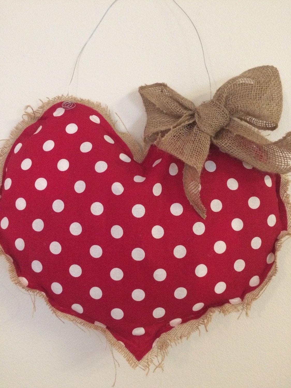 Red polka dot heart burlap door hanger