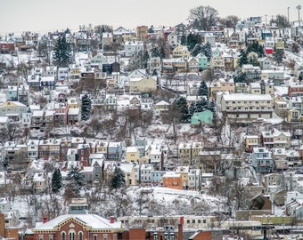 The snow covered South Side Slopes in Pittsburgh - Kodak Print