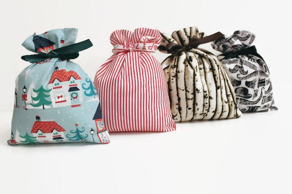 Reusable fabric gift bags with matching by valencianadesigns