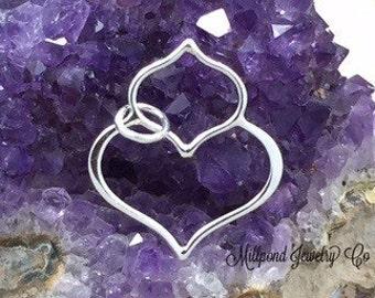 Lotus Petal Pendant, Lotus Pendant, Teardrop Charm, Teardrop Pendant, Sterling Silver Charm, Sterling Silver, PS01354