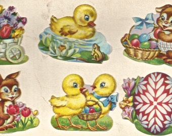 Vintage Dennison Easter seals stickers bunny rabbit chicks eggs digital art image digital download clip art art image