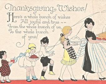 Vintage Art Deco Thanksgiving card digital download printable image 300 dpi