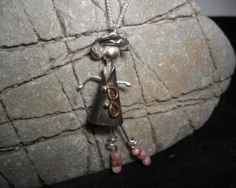 Doll pendant in sterling silver with rhodochrosites