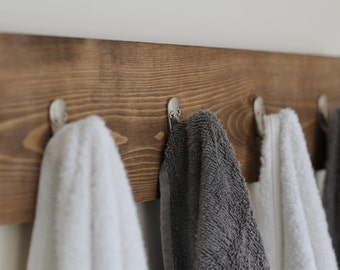 Rustic Wooden Towel Rack Hooks Bathroom Decor