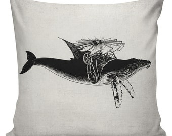 Steampunk Pillow Cover Cotton Canvas Throw Pillow 18 inch square Great Whale Migration
