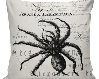Halloween Pillow Cover Spider Tarantula Cushion  cotton canvas throw pillow 18 inch square UE-110